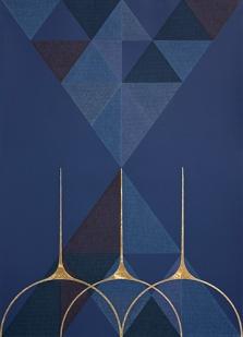 Claudia Wieser, Ohne Titel (2016), 55 cm x 39 cm, sechsfarbige Lithografie mit 23,6 Karat Blattgold