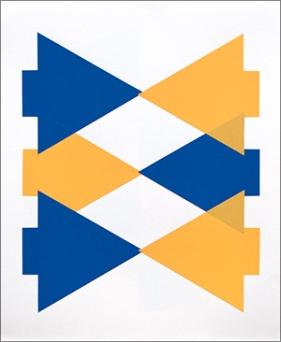 Tangram-Reihe 2 (2015), Auflage: 10, 55 cm x 45 cm, zweifarbige Lithografie mit Collage auf Japanpapier